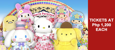 Sanrio Puroland tickets at Php 1,200 each